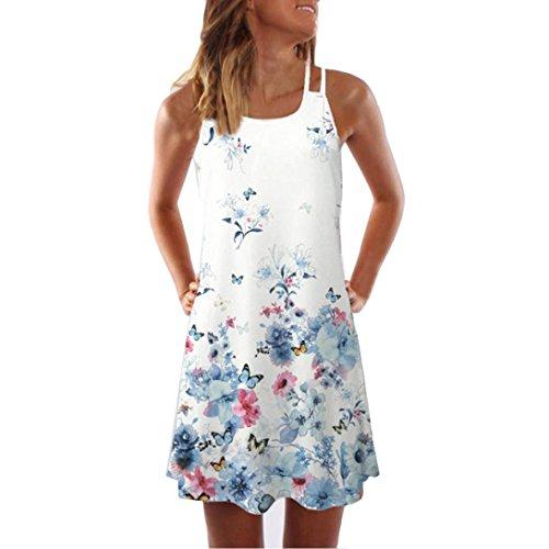 VEMOW Sommer Elegante Damen Frauen Lose Vintage Sleeveless 3D Blumendruck Bohe Casual Täglichen Party Strand Urlaub Tank Short Mini Kleid(Weiß, 38 DE/M CN)