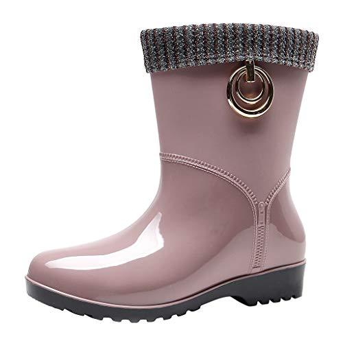 Frauen Retro Flach rutschfeste Regenstiefel Damen Einfarbig Runder Kappe wasserdichte Bequem Mitte Röhre Stiefel Wasserschuhe