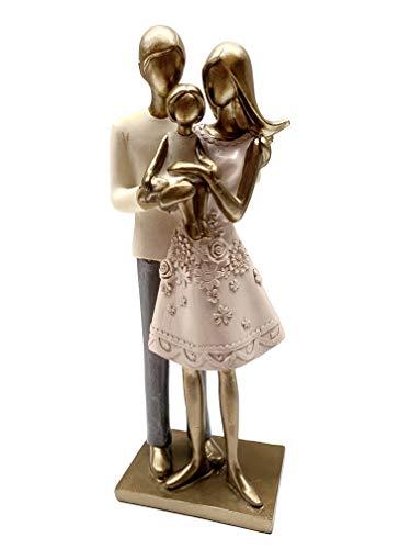 N / A Dekofigur Familie 24,5x10cm Figur antik Gold Design Paar mit Kind Skulptur