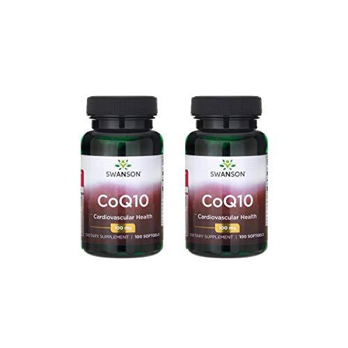 Swanson CoQ10 Heart Health Cardiovascular Brain Energy Antioxidant Support Coenzyme Q10 Supplement 100 mg 100 Capsules (2 Pack)