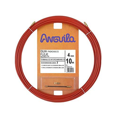 Anguila 20400010 Guía pasacables Fleje de Acero + Polipropileno, Rojo, 10 Metros