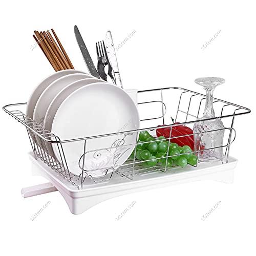 The Fellie Dish Drainer, Drying Dish Rack, Draining Board Racks for Kitchen Storage Organizer (White, 1 Tier / 42x28x15 cm)