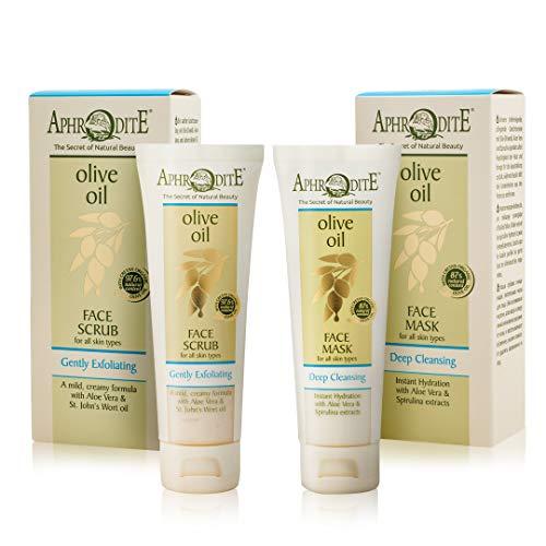 Aphrodite Tiefenreinigung Set. Natürlicher Gesichtsreiniger mit Bio-Olivenöl. Enthält ein sanftes Gesichtspeeling (75 ml) und eine tiefenreinigende Gesichtsmaske (75 ml) für alle Hauttypen
