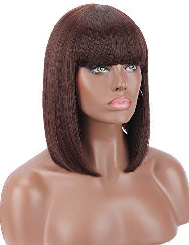 Kalyss Kurze Schwarze Kirsche Farbe Gerade Bob Perücke für Schwarze Frauen Hitzebeständig Yaki Synthetische Haar Perücke für Frauen mit Haar Bangs (99J)