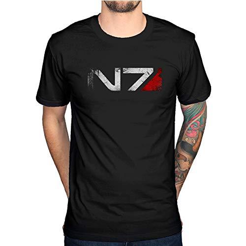 YR Mass Effect N7 T-Shirt Xbox Playstation Spielekonsole Video-Serie Cod Gr. L, Schwarz