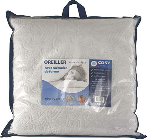 Almohada de 60 x 60 cm, copos con memoria de forma, antialérgica.