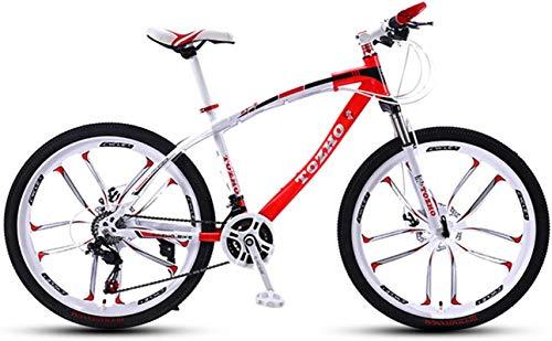 Commuter City Road Bike, Vélo, 24 pouces, VTT, fourche à suspension, Adulte bicyclette, garçons et filles à vélo variable Absorption vitesse choc cadre haute en acier au carbone à haute dureté hors ro