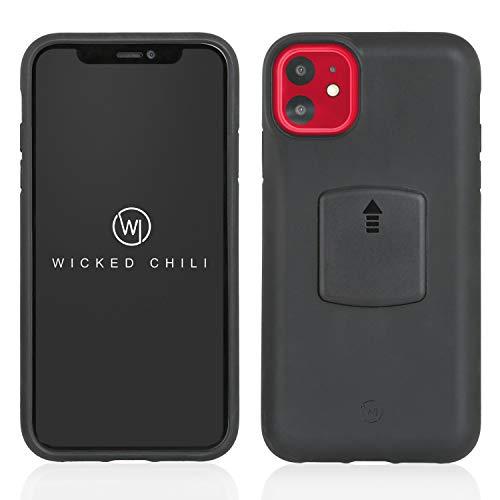 Wicked Chili QuickMOUNT Case kompatibel mit Apple iPhone 11 Smartphone Schutzhülle (6,1 Zoll, iPhone 11 Qi-Fähige Schutzhülle) geeignet für Fahrrad, Auto, Bike und Magnethalterung, schwarz