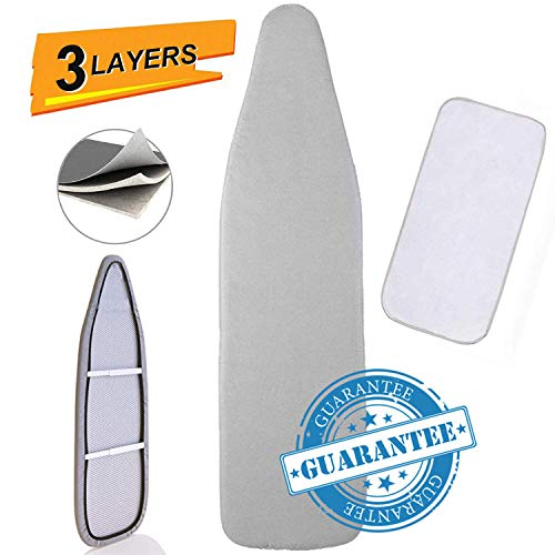 """Petask Ironing Board Cover and Pad, Silicone Coated Resists Scorching and Staining Ironing Board Pads with Elastic Edges, 15""""x54"""" Gray"""