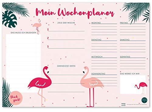 TYSK Design Schreibtischunterlage Flamingo rosa (Design wählbar) Tischunterlage aus Papier zum Abreißen DIN A3 to Do Liste Notizblock Wochenplaner
