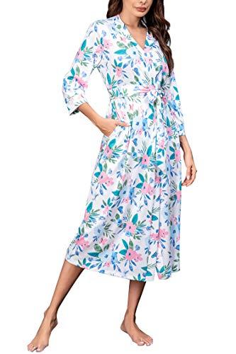 Unibelle Damen Bademantal Baumwolle morgenmantel lang leicht Kimono maxi Dünn Saunamantel weich Robe Tasche Frauen Hausmantel Muster-5 XXL