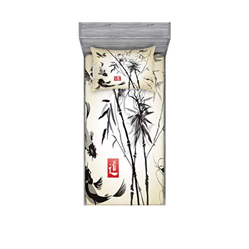 Lunarable Japanese Fitted Sheet & Pillow Sham Set, Japanese Traditional Garden Design Wildlife Forest Meditation Origami, Decorative Printed 2 Piece Bedding Decor Set, Twinxl, White Black