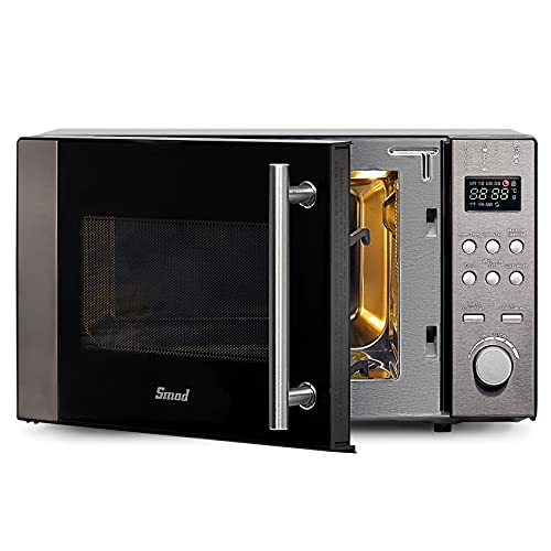 Smad 3 in 1 Mikrowelle Backofen Kombination, 20L Microwave with Grill & Oven & heißluft, 800W Kleiner Backofen Mit Mikrowelle, Microwelle Mit Pizzafunktion, Schwarz & Silber Mikrowelle aus Edelstahl