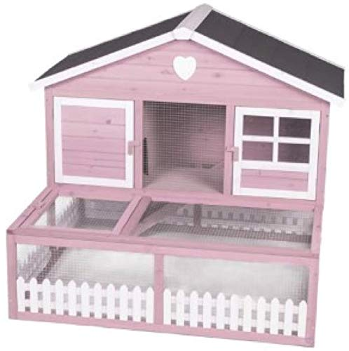 Guinea Pig Hutch Blossom In Pink & White – Made From Chinese Fir Wood, A Perfect Shed For Your Little Animal Friends That Is Large Enough For Runs, Snuggle, Naps And Plays