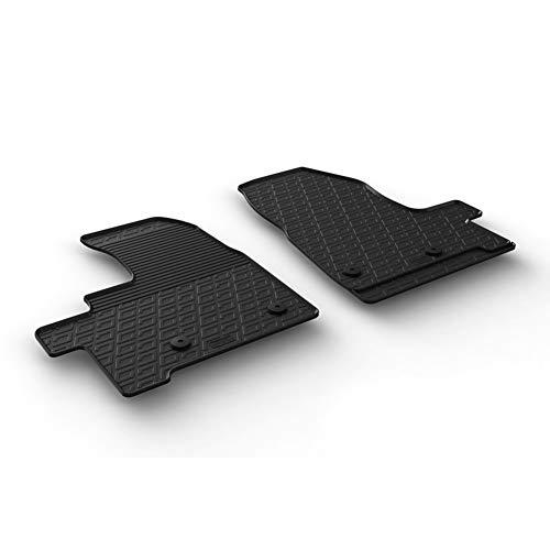 Set tapis de caoutchouc compatible avec Ford Transit Custom Furgon/Kombi Furgon/Kombi 2018- (Boite automatique) (G profil 2-pièces + clips de montage)