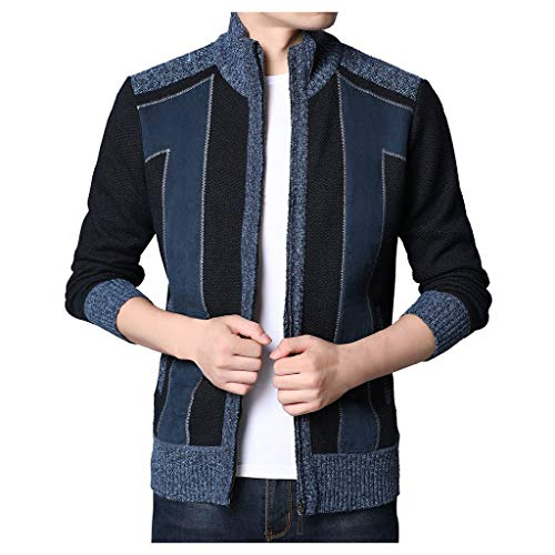 ZZBO Herren Strickjacke Open Jacke Cardigan Knit Mantel Herbst Winter Slim Fit Langarm Thicken Plus Samt Männer Freizeit Strick Jacke mit Reißverschluss M-XXXL (Blau, Marine, Dunkelgrau, Grau)