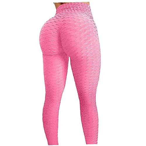 Yoga-Hosen, Frauen-hohe Taillen-Hosen Gym Gamaschen Honeycomb Strukturierter Scrunch Workout Lauf Elastischen Sport-Strumpfhose Rosa XXXL