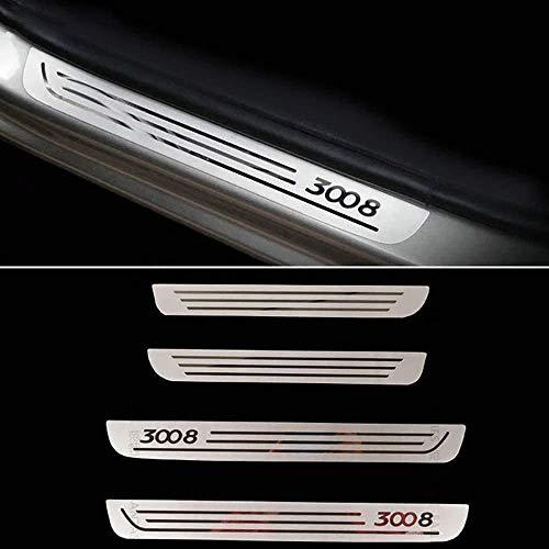 LADOG 4 Piezas De Placa De Desgaste De Umbral De Puerta De Acero Inoxidable, para Peugeot 3008 2009-2016 Protectores De Umbral De Puerta Embellecedor De Placas De Protección Pedal De Protección, Bar