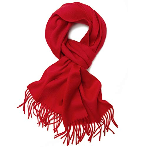 FHLH Ladies Classic Scarf Pure Color Scarf Ladies Shawl Thin Section Autumn and Winter All-match Ladies Scarf Popular Accessories (Color : Red, Size : 180x30cm)