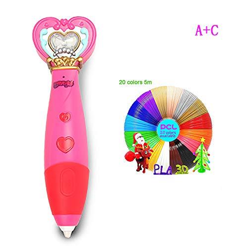 HYwot New Ba Lala 3D-Druck Stift, Aufladen/Niedrigtemperatur/Wireless Student Doodler Stift Stereo-Zeichenstift, Best Birthday Holiday Girl Geschenke,A+c