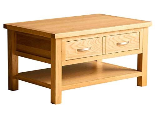 London Oak Large Coffee Table With Storage Drawer and Shelf   Lacquered Solid Wooden Modern Rectangular Living Room Furniture, H:45cm W:85cm D:55cm
