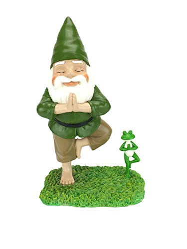"Zen Gnome and Zen Frog - Tree Pose– Tranquility and Peacefulness for Your Fairy Garden and Garden Gnomes by GlitZGlam. A Large 11"" Inches Tall Miniature Gnome Figurine"