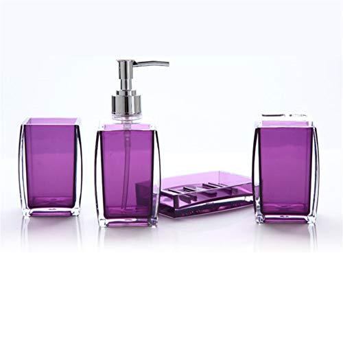 starall - Juego de Accesorios de baño de acrílico, dispensador de jabón, Botella, jabonera, Plato, Soporte para Cepillo de Dientes, 4 Unidades