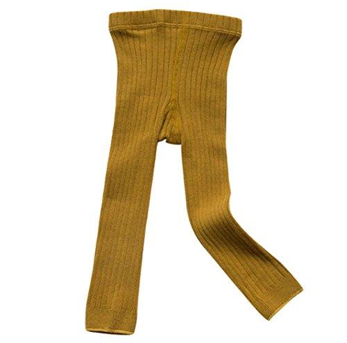 Huhu833 Strumpfhosen Strümpfe Warm Cotton Solide Socken für Babys Kleinkind Kinder (Gelb, 3-5T -90-100CM)