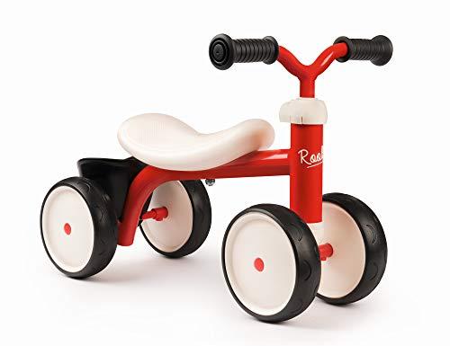 Smoby 721400 – Rookie Laufrad Rot – ideale Lauflernhilfe für Kinder ab 12 Monaten, Lauflernrad mit Spielzeug-Korb, Retro Design für Jungen und Mädchen