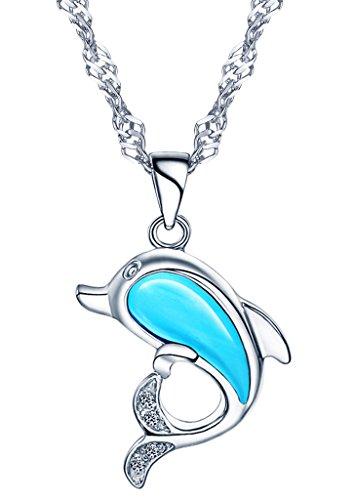 Yumilok Jewelry, collana e ciondolo a forma di delfino con opale azzurro, in argento Sterling 925, per donna/bambini