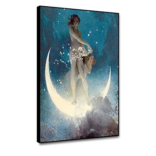shensu Framed Mythology Godness Canvas Wall Art Fairy Tale Woman and Kid Prints Posters Shiny Stars Moon Blue Wall Decor for Living Room Bedroom Bathroom Kitchen Office Home Decor Artwork 12x18inch