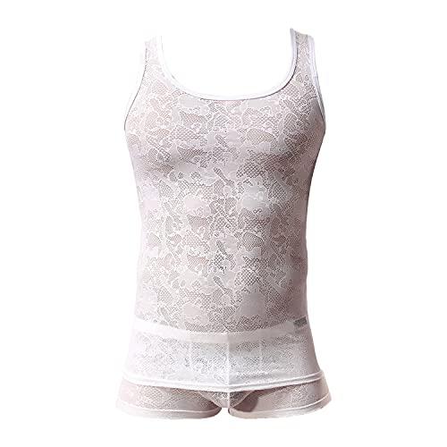 Sissy Dessous Für Herren Netz-Tanktop Tanga Trikot Unterwäsche Ärmelloses Unterhemd Mit Boxershorts Unterwäsche-Set (M,Weiß 1)