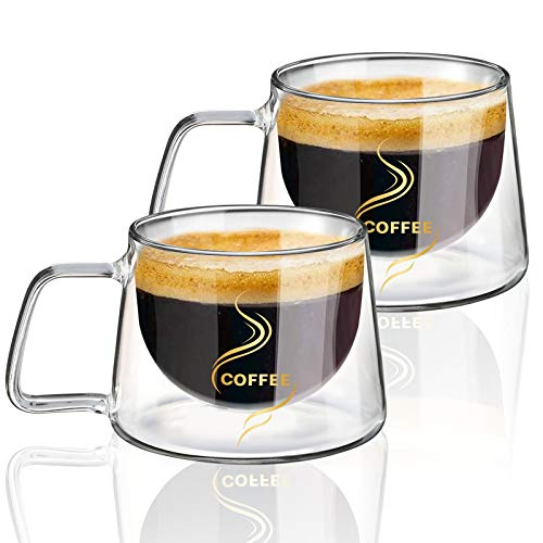 KAMEUN Latte Macchiato Gläser Set of 2*200ml, Doppelwandige Gläser mit Henkel aus Borosilikatglas, Kaffeegläser, Teegläser für Espresso Tee Latte Cola Cappuccino Getränk