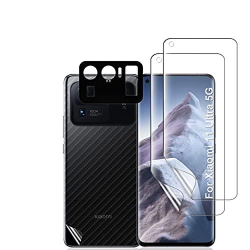 Ibywind Schutzfolie für Xiaomi Mi 11 Ultra 5G/4G,[ 2 Stück ],[Kamera Schutzfolie Metall Material][Carbon Fiber Folie für die Rückseite][Fingerabdruck kompatibel][Blasenfrei]