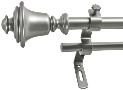 Montevilla 5/8-Inch Bell Double Window Treatment Rod Set, 48 to 86-Inch, Dark Nickel