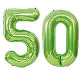2 globos con el número 50, color verde, número 50, globos verdes para niñas, globos con número 50 cumpleaños XXXL, globos de helio gigantes de 100 cm, globos verdes para decoración de cumpleaños