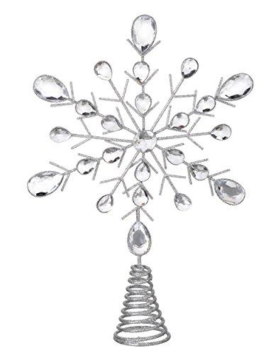 Estrella para árbol de Navidad, plateada y con purpurina, con cristales, de 32cm
