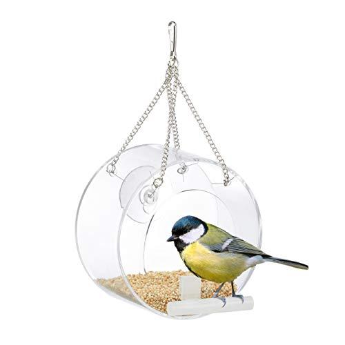 Relaxdays Vogelfutterhaus, Vogelfutterspender Acryl, zum Aufhängen, für Fenster, HBT: 13 x 12,5 x 11,5 cm, transparent