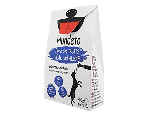 Hundeto Bastoncini per Cani Naturali Senza Glutine e Lattosio per Cani - Vitello e Alghe - Nessuna Sciocchezza Artificiale - 200g