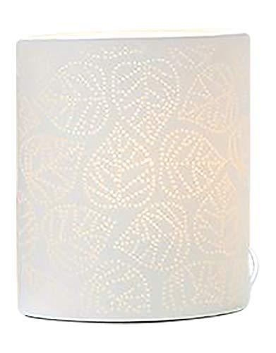 GILDE Lampe Blatt - aus Porzellan mit Lochmuster im Prickellook H 20 cm