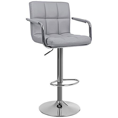 SONGMICS 1 x Bar Stool with Safe Auto-Return Cylinder Easy Height Adjustment Soft Padded Chair LJB93G-1UK, PU, 38.5 x 44.5 x (95-115) cm