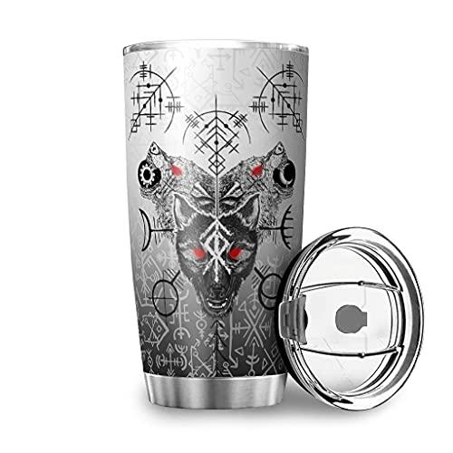 Dessionop Botella de agua vikinga Fenrir Wolf Skoll y Corazón Fathurk Impresión Auto Botella de agua deportiva 20oz antigoteo Tapa blanca 600 ml