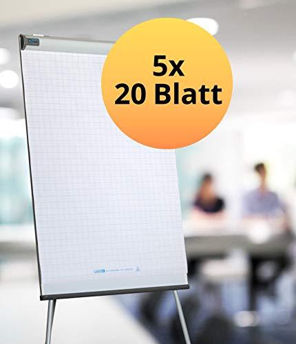 Landre Flipchart-Blöcke Recycling kariert 5er Pack (mit 20 Blatt je Block)