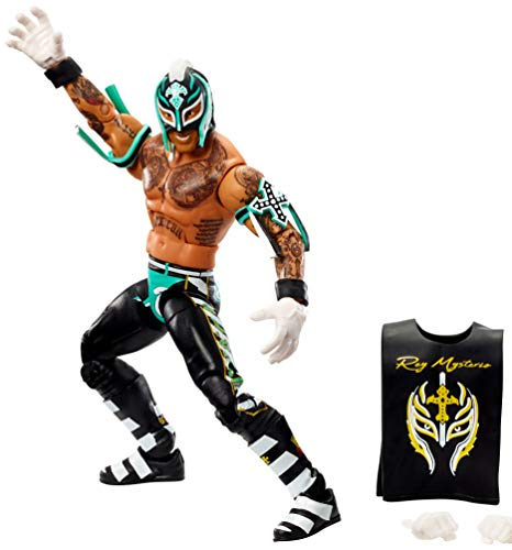 WWE Rey Mysterio Elite Series #72 Deluxe Action Figure with Realistic Facial Detailing, Iconic Ring Gear & Accessories