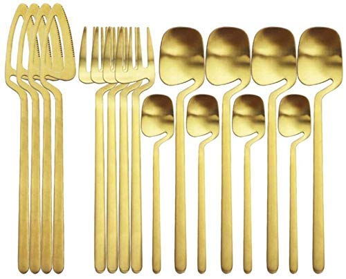 CEXTT 16pcs Black Cutlery Set 304 Juego de vajillas de Acero Inoxidable, Cuchillas Tenedor Coloque Café Coloque Setwware Set Party Flatware Silaterware Set (Color: Gold) (Color : Gold)
