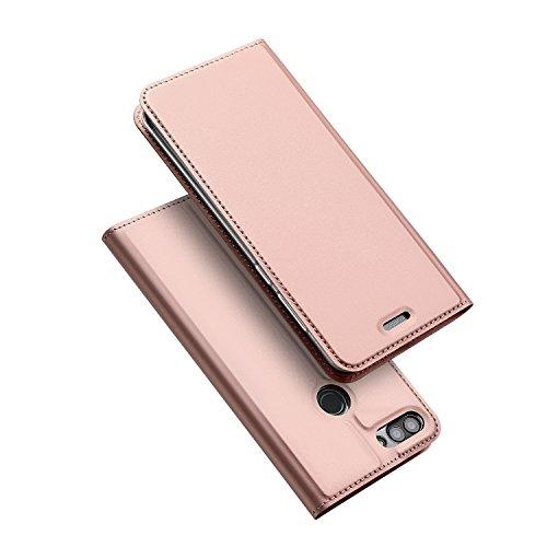 DUX DUCIS Hülle für Huawei P Smart, Leder Flip Handyhülle Schutzhülle Tasche Case mit [Kartenfach] [Standfunktion] [Magnetverschluss] für Huawei P Smart (Rose Golden)