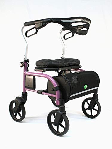 Evolution Trillium Lightweight Medical Walker Rollator with Seat, Large Wheels, Brakes, Backrest, Basket for Seniors Indoor Outdoor use (Regular, Pink)