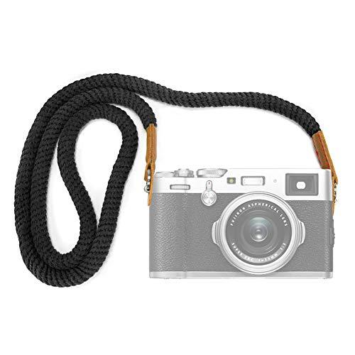 VKO カメラネックストラップ ソフトコットン カメラストラップ ショルダーストラッ 一眼レフ ミラーレス コンパクトカメラ用 FUJIFILMなど用 X-T4 X-T30 X-T20 X-T3 X-T2 X-Pro2 X-E3 X-E2 X30 XQ2 X100F A6400 A6000 A6300 A6500 A6600 A6100など用 (黒)