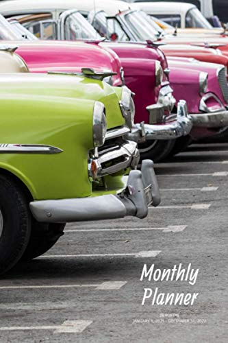 Monthly Planner: Classic cars; 24 months; January 1, 2021 - December 31, 2022; 6' x 9'