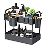 FURTIME Under Sink Organizer, 2 Tier Kitchen Under Sink Storage Bathroom Countertop Organizer with 6 Hooks 2 Hanging Cups and Anti-Foot for Bathroom Kitchen Spice Makeup Cosmetics Vanity Narrow Space